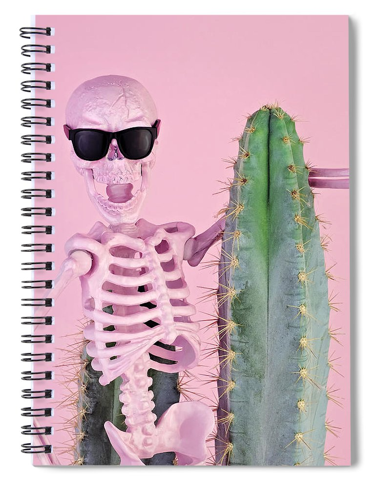 Cool Attitude Spiral Notebook featuring the photograph Pink Skeleton With Cactus by Juj Winn