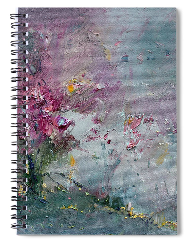 Pink Spiral Notebook featuring the painting Pink Spring by Ylli Haruni