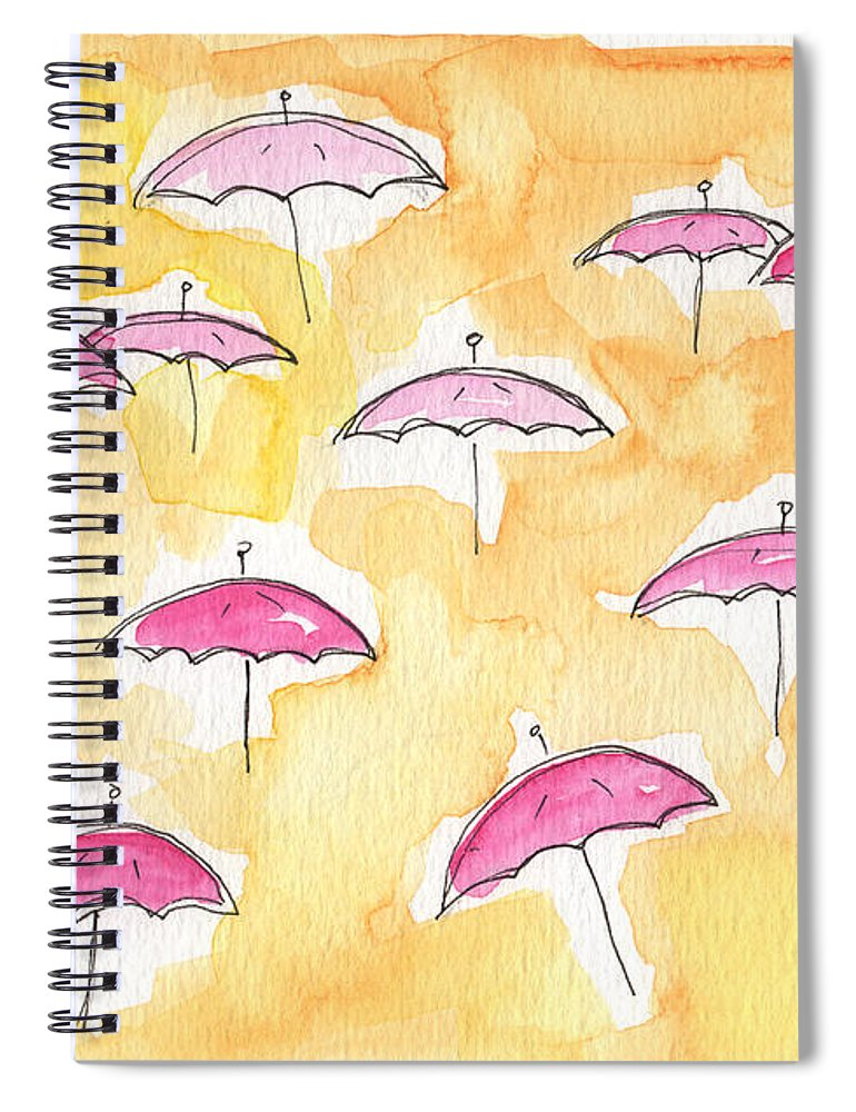 Umbrellas Spiral Notebook featuring the painting Pink Umbrellas by Linda Woods