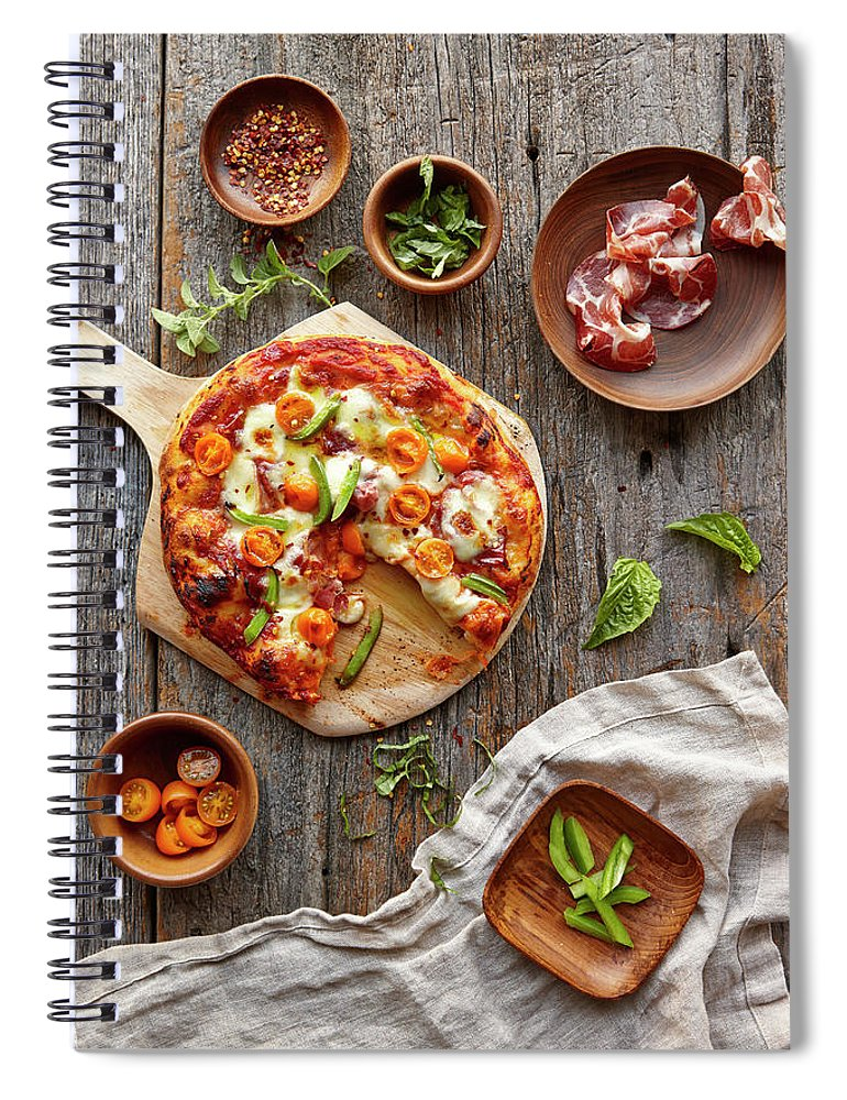 Parma Ham Spiral Notebook featuring the photograph Pizza by Lew Robertson