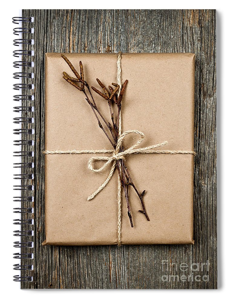 Package Spiral Notebook featuring the photograph Plain Gift With Natural Decorations by Elena Elisseeva
