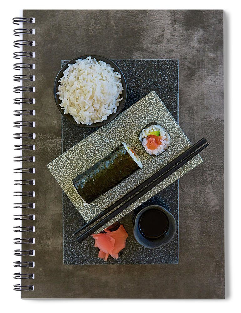 Hand Roll Spiral Notebook featuring the photograph Plate Of Sushi With Rice And Pickled by Colin Anderson Productions Pty Ltd