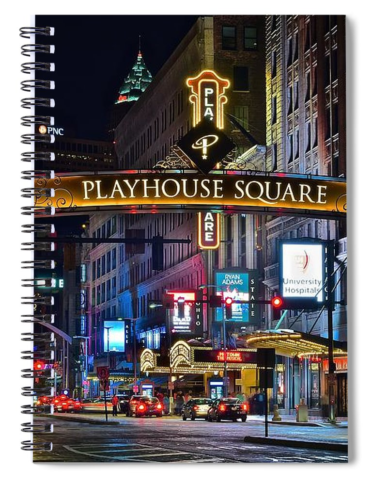 Cleveland Spiral Notebook featuring the photograph Playhouse Square by Frozen in Time Fine Art Photography