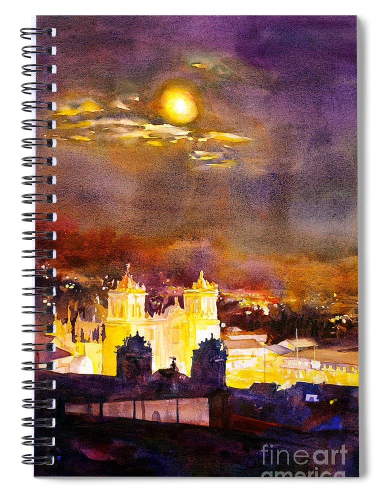 Cathedral Spiral Notebook featuring the painting Plaza De Armas- Cusco by Ryan Fox