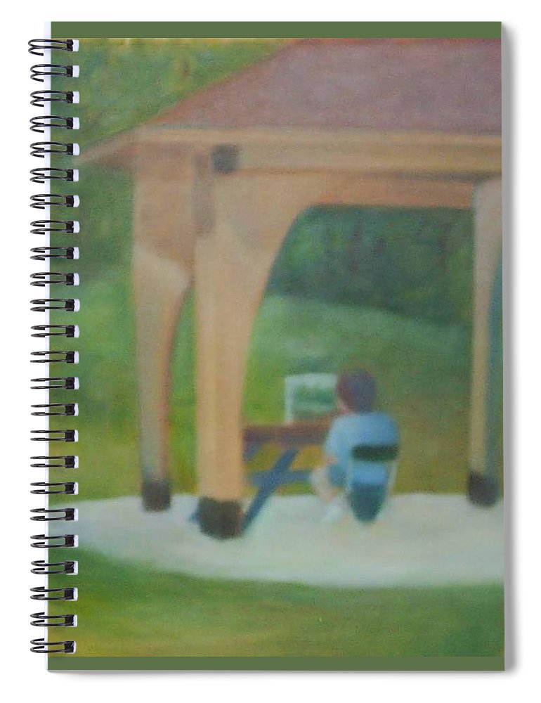 Plein Aire Spiral Notebook featuring the painting Plein Aire at Park by Sheila Mashaw