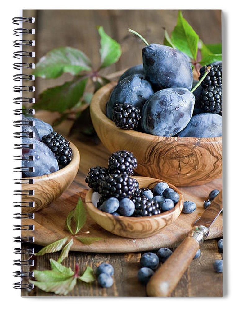 Plum Spiral Notebook featuring the photograph Plums And Berries by Verdina Anna