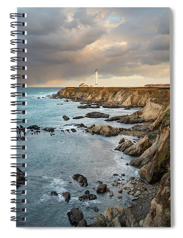 Headland Spiral Notebook featuring the photograph Point Arena Headland And Lighthouse by Kjschoen