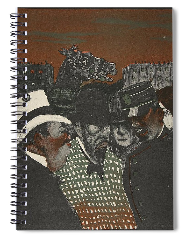 French Spiral Notebook featuring the drawing Policeman Talking With Men by Georges d' Ostoya