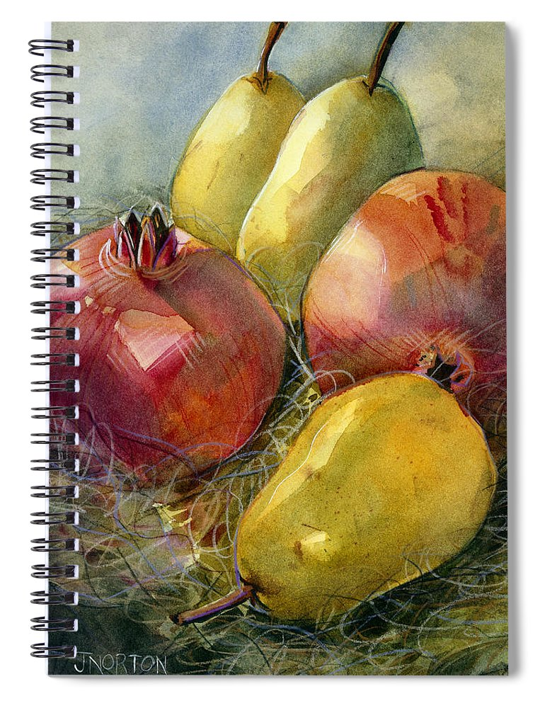 Jen Norton Spiral Notebook featuring the painting Pomegranates And Pears by Jen  Norton 5f4246aebf7f7