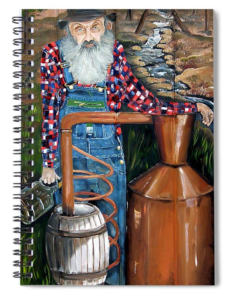 Popcorn Spiral Notebook featuring the painting Popcorn Sutton - Moonshiner - Redneck by Jan Dappen