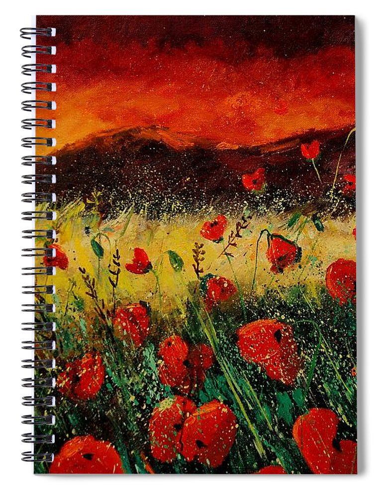 Poppies Spiral Notebook featuring the painting Poppies 68 by Pol Ledent