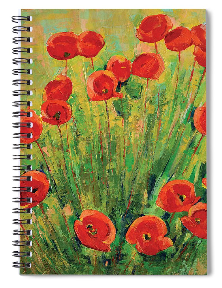 Poppies Spiral Notebook featuring the painting Poppies by Iliyan Bozhanov