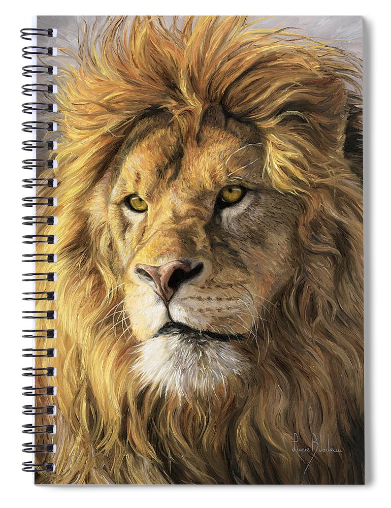 Lion Spiral Notebook featuring the painting Portrait Of A Lion by Lucie Bilodeau