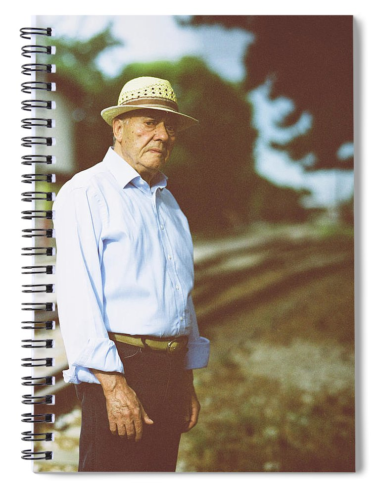 Three Quarter Length Spiral Notebook featuring the photograph Portrait Of A Senior Man by Thanasis Zovoilis