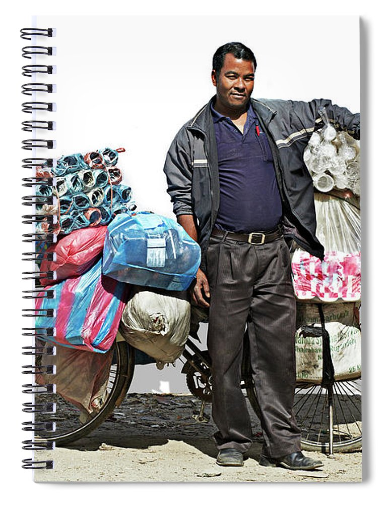Asian And Indian Ethnicities Spiral Notebook featuring the photograph Portrait Of A Vendor Selling Plastic by Paper Boat Creative