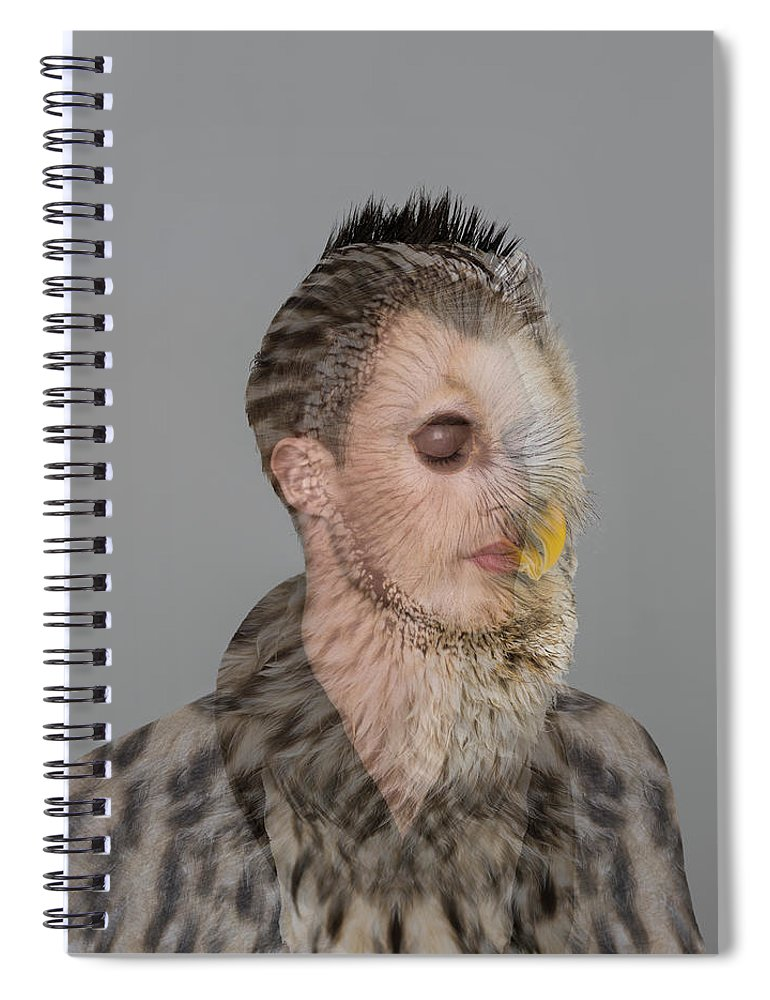 People Spiral Notebook featuring the photograph Portrait Of Young Man With Owl Overlay by Nisian Hughes