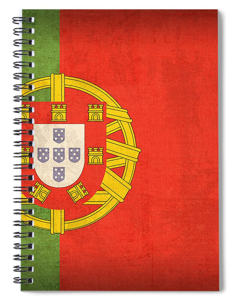 Portugal Flag Vintage Distressed Finish Lisbon Portuguese Europe Nation Country Spiral Notebook featuring the mixed media Portugal Flag Vintage Distressed Finish by Design Turnpike