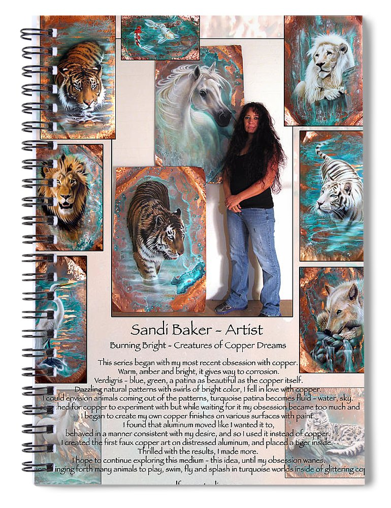 Spiral Notebook featuring the mixed media Poster by Sandi Baker