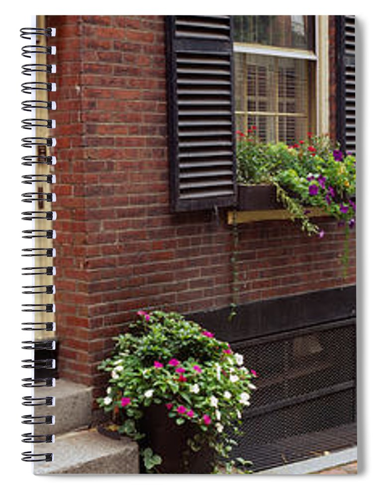 Photography Spiral Notebook featuring the photograph Potted Plants Outside A House, Acorn by Panoramic Images