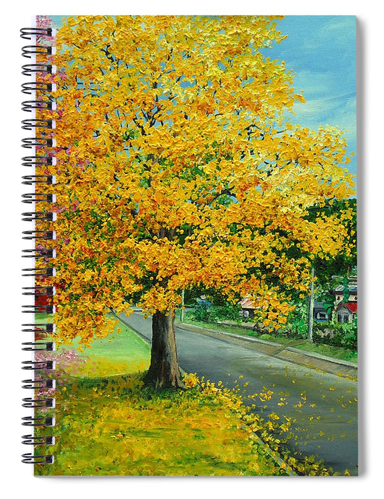 Poui Trees Spiral Notebook featuring the painting Poui In Diego by Karin Dawn Kelshall- Best