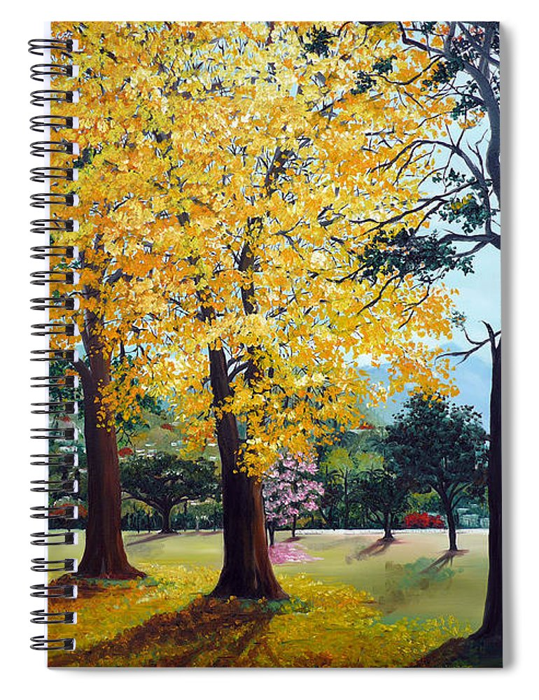 Tree Painting Landscape Painting Caribbean Painting Poui Tree Yellow Blossoms Trinidad Queens Park Savannah Port Of Spain Trinidad And Tobago Painting Savannah Tropical Painting Spiral Notebook featuring the painting Poui Trees in the Savannah by Karin Dawn Kelshall- Best