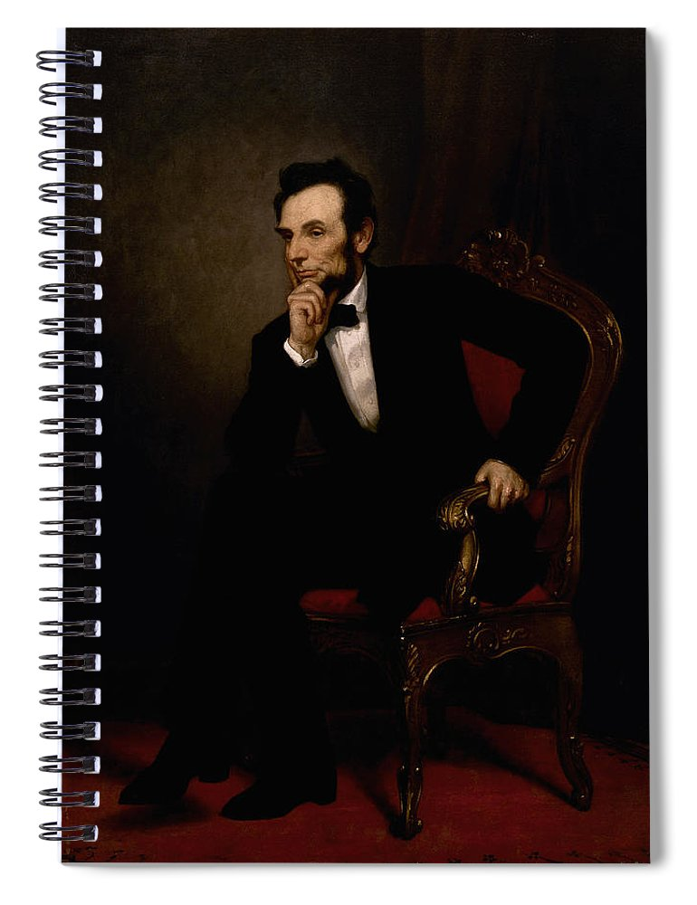 Abraham Lincoln Spiral Notebook featuring the painting President Lincoln by War Is Hell Store