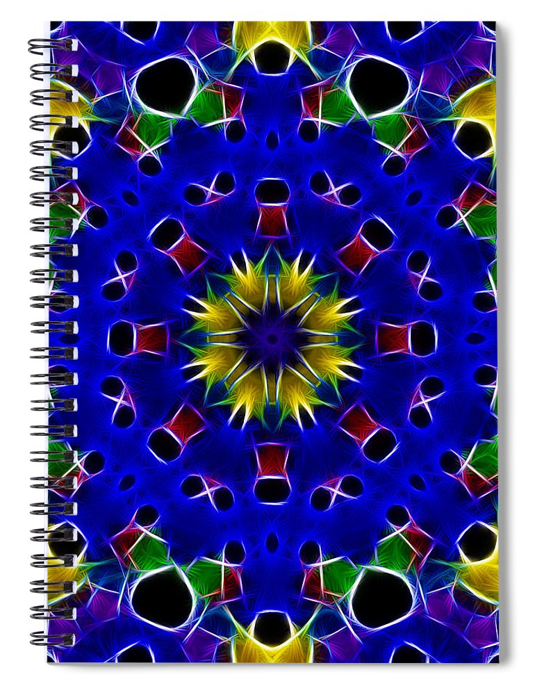 Primary Colors Spiral Notebook featuring the photograph Primary Colors Fractal Kaleidoscope by Kathy Clark