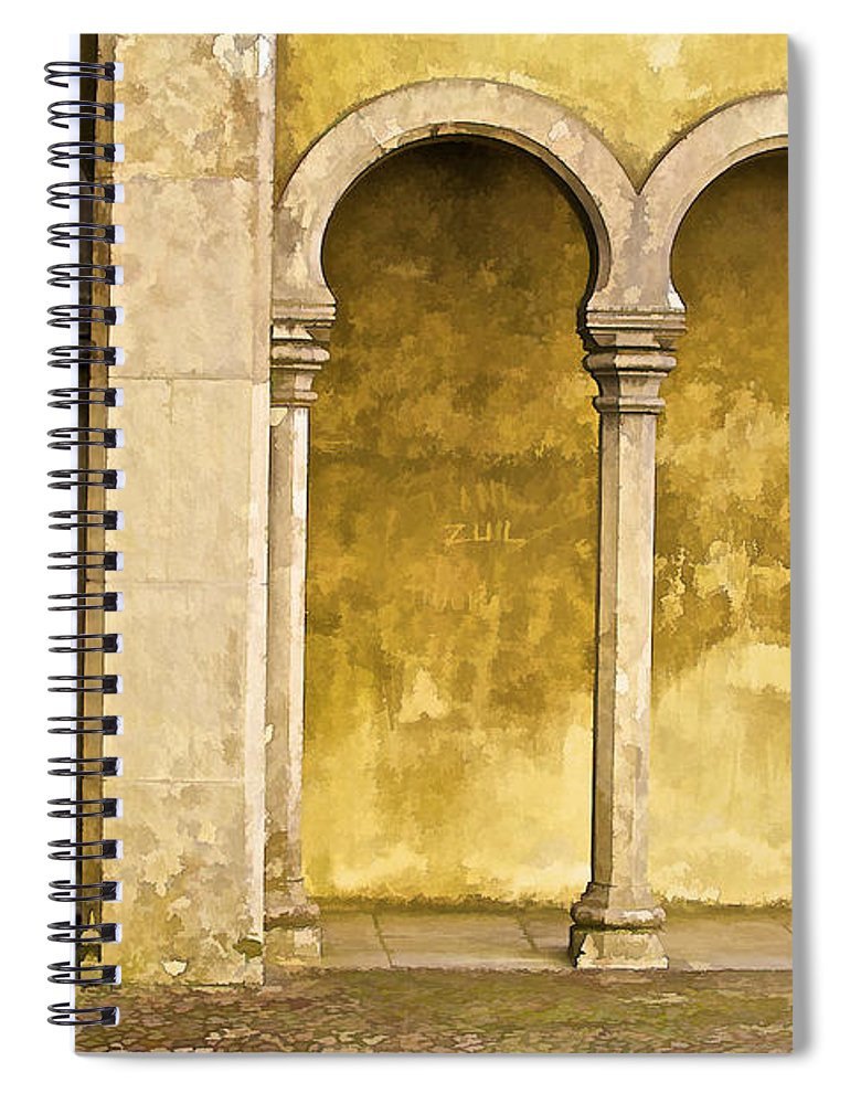 Art Spiral Notebook featuring the photograph Private Secluded Courtyard Of Medieval Sintra by David Letts