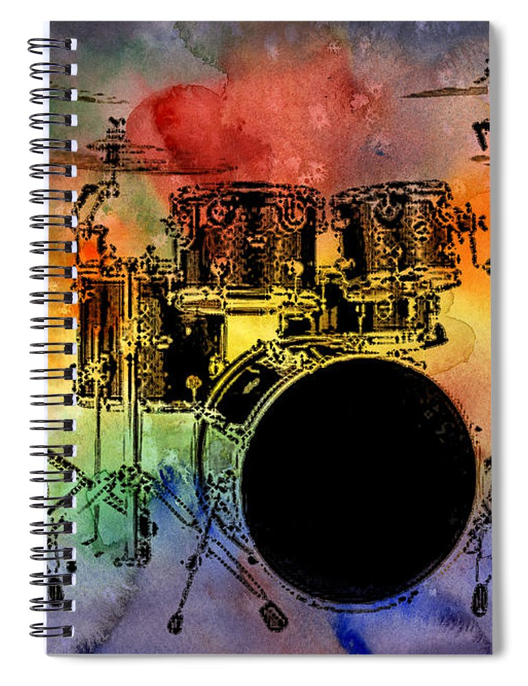 Drums Spiral Notebook featuring the photograph Psychedelic Drum Set by Athena Mckinzie