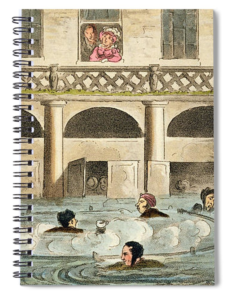 Bathers Spiral Notebook featuring the drawing Public Bathing At Bath, Or Stewing by Isaac Robert Cruikshank