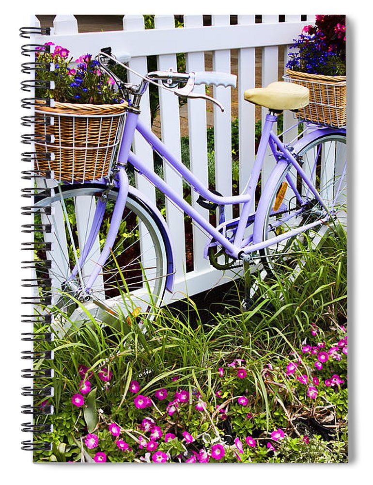 Bicycle Spiral Notebook featuring the photograph Purple Bicycle And Flowers by David Smith