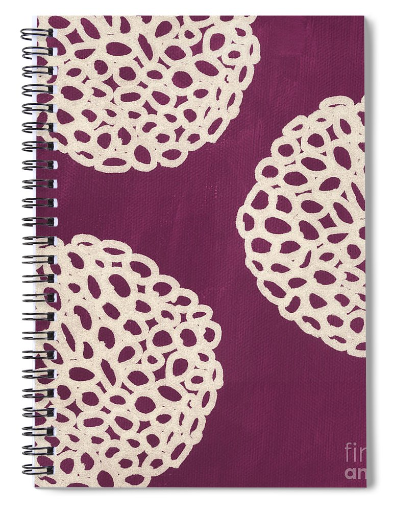 Purple Spiral Notebook featuring the painting Purple Garden Bloom by Linda Woods
