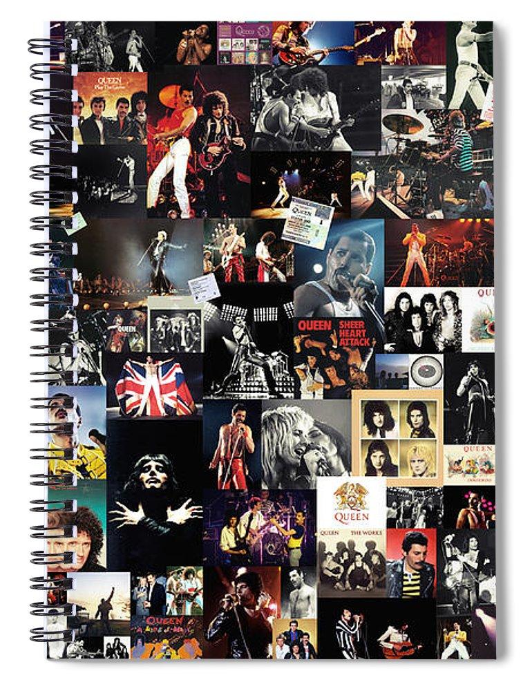 Queen Spiral Notebook featuring the digital art Queen Collage by Zapista OU