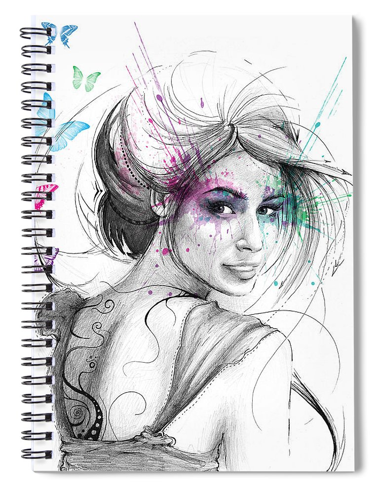 Butterflies Spiral Notebook featuring the drawing Queen of Butterflies by Olga Shvartsur