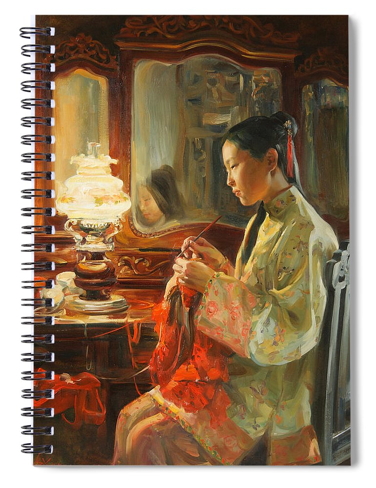 China Spiral Notebook featuring the painting Quiet evening by Victoria Kharchenko
