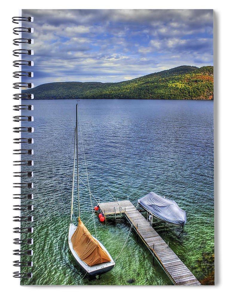Adirondacks Spiral Notebook featuring the photograph Quiet Jetty by Evelina Kremsdorf