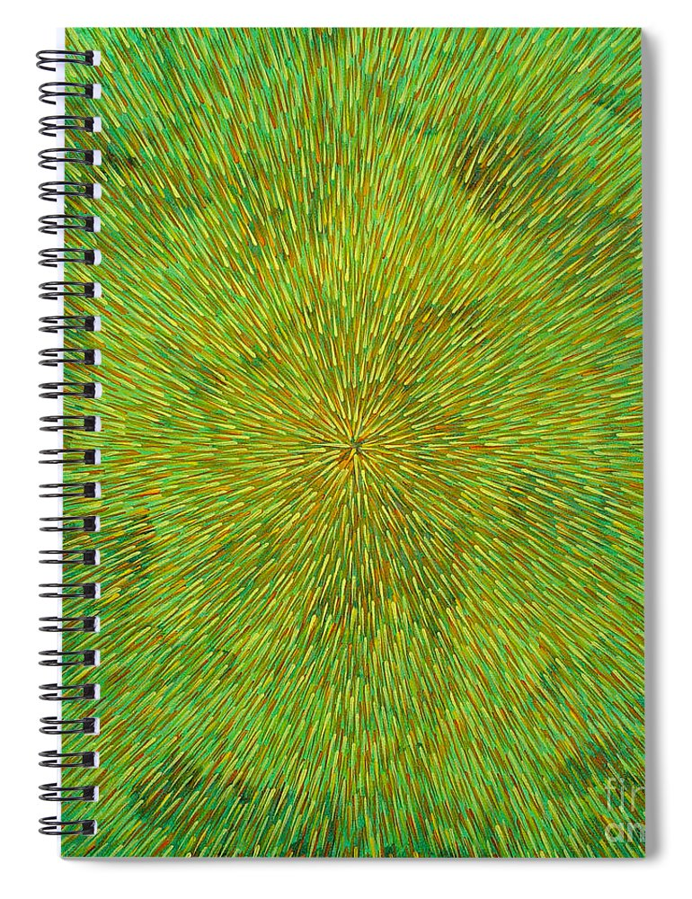 Abstract Spiral Notebook featuring the painting Radiation With Green Yellow And Orange by Dean Triolo