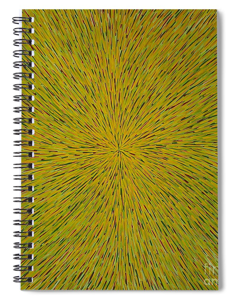 Abstract Spiral Notebook featuring the painting Radiation With Yellow Green And Red by Dean Triolo