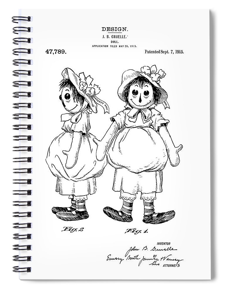 Raggedy Ann Patent Drawing Spiral Notebook For Sale By Dan Sproul