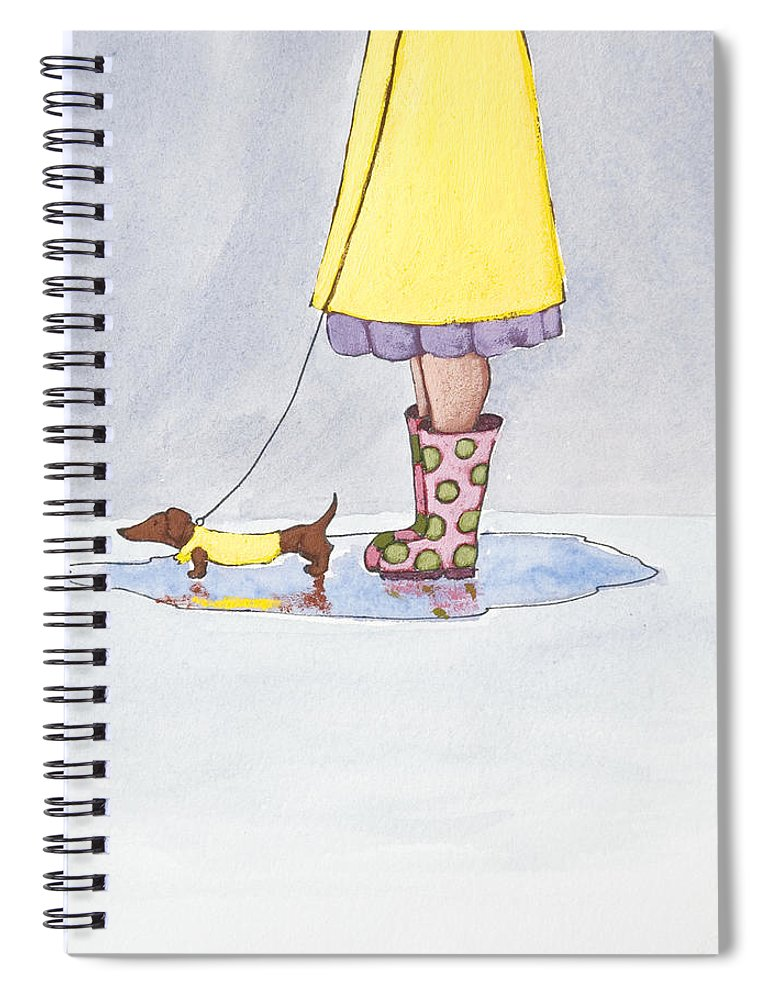 Boot Spiral Notebook featuring the painting Rain Boots by Christy Beckwith