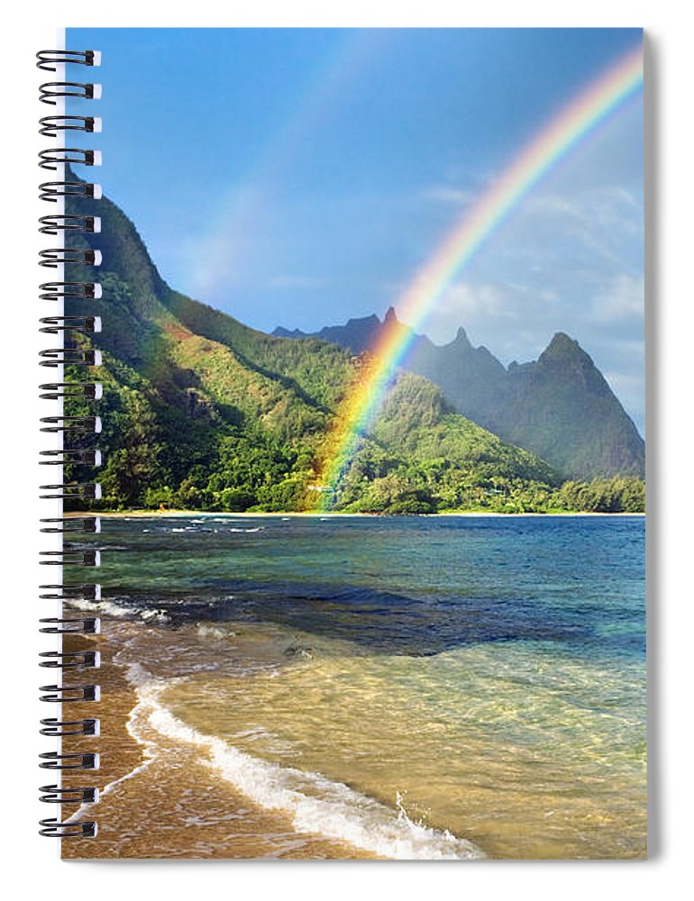 Amazing Spiral Notebook featuring the photograph Rainbow Over Haena Beach by M Swiet Productions