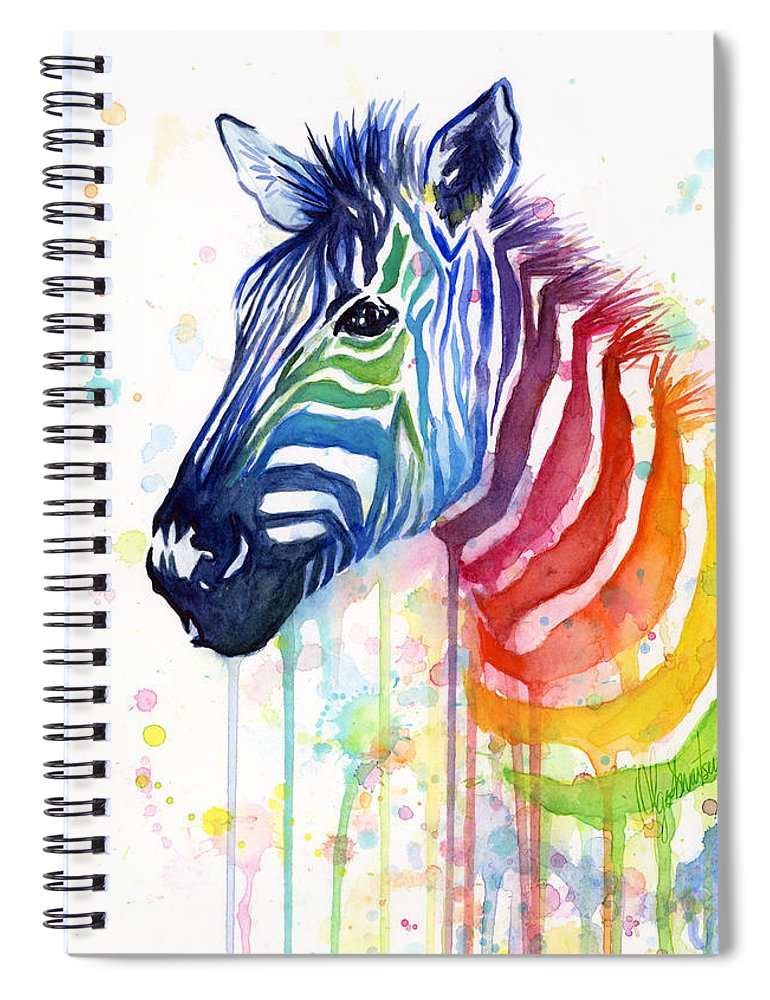 Rainbow Spiral Notebook featuring the painting Rainbow Zebra - Ode to Fruit Stripes by Olga Shvartsur