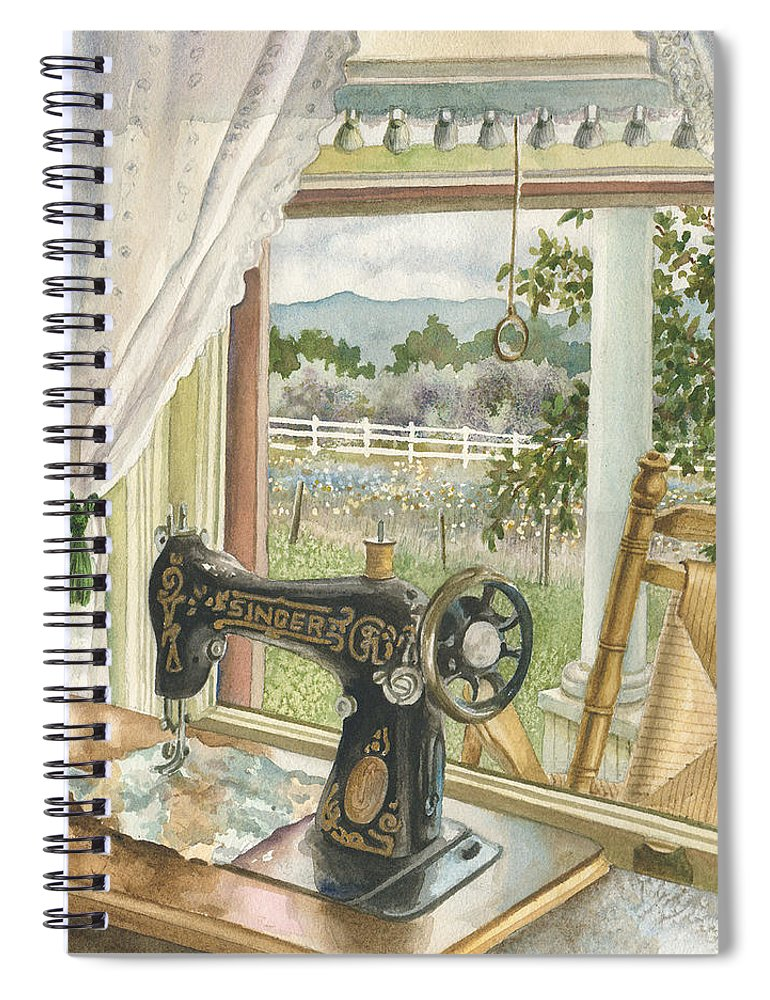 Sewing Machine Painting Spiral Notebook featuring the painting Rainy Day on the Old Farm by Anne Gifford
