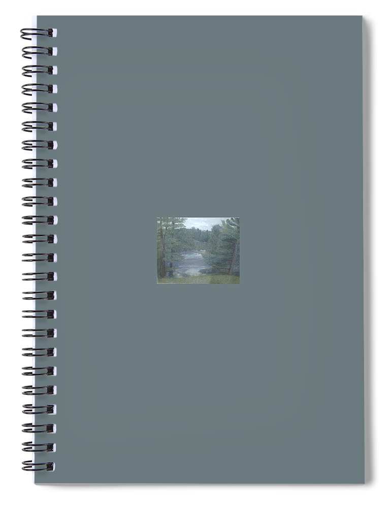 Rainy Spiral Notebook featuring the painting Rainy Day Plein Aire by Sheila Mashaw