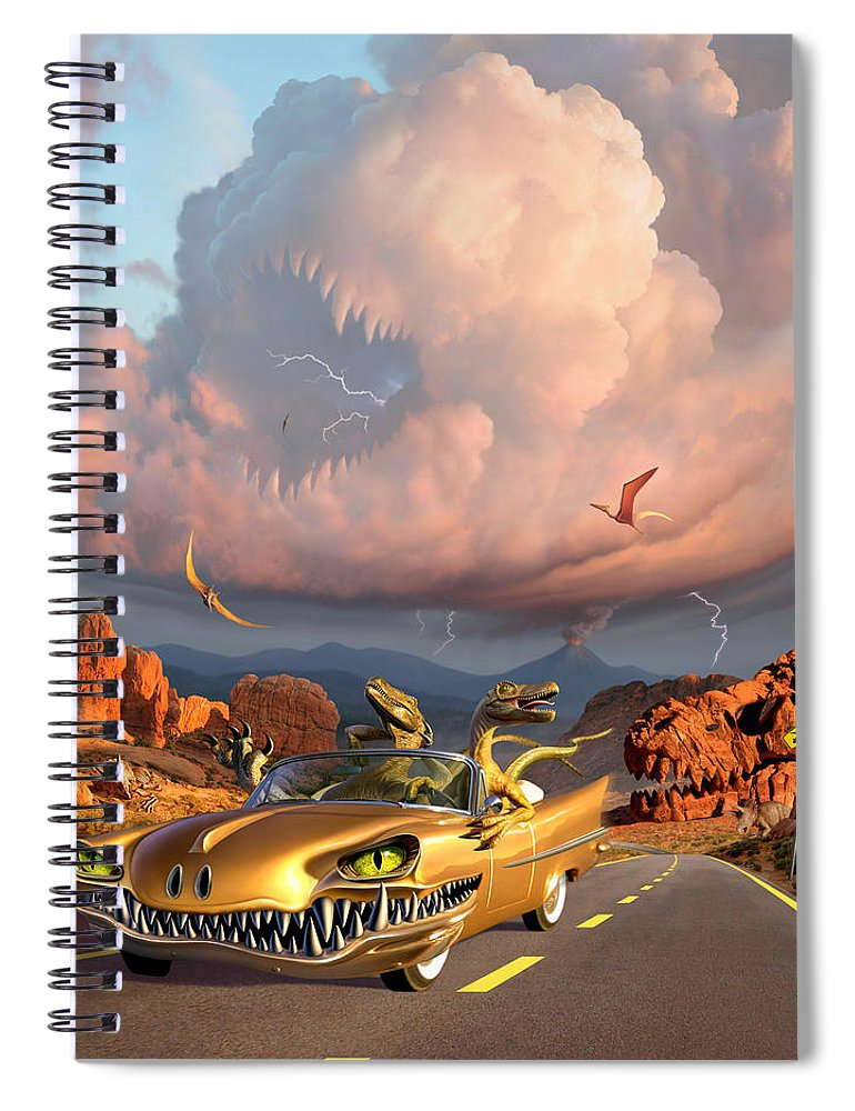 Dinosaurs Spiral Notebook featuring the digital art Rapt Patrol by Jerry LoFaro