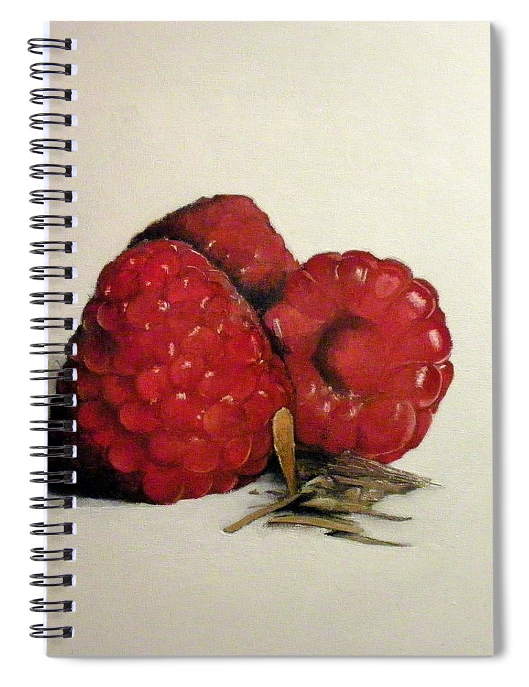 Raspberries Spiral Notebook featuring the painting Raspberries by Tomas Castano