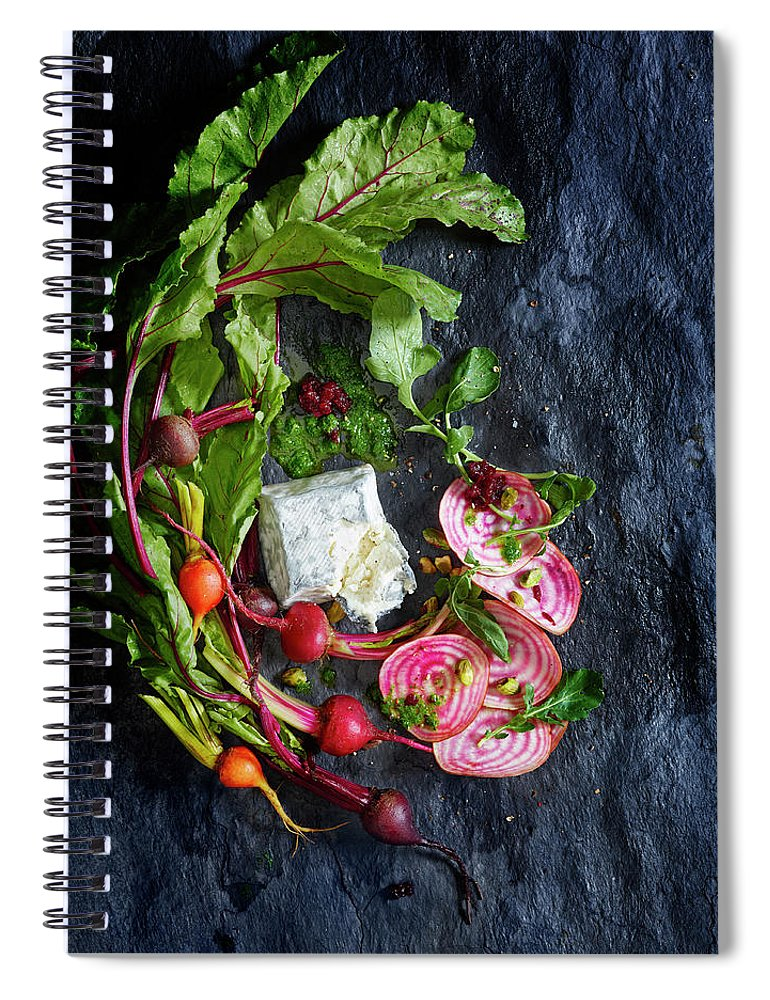 Cheese Spiral Notebook featuring the photograph Raw Beeet Salad Ingredients by Annabelle Breakey
