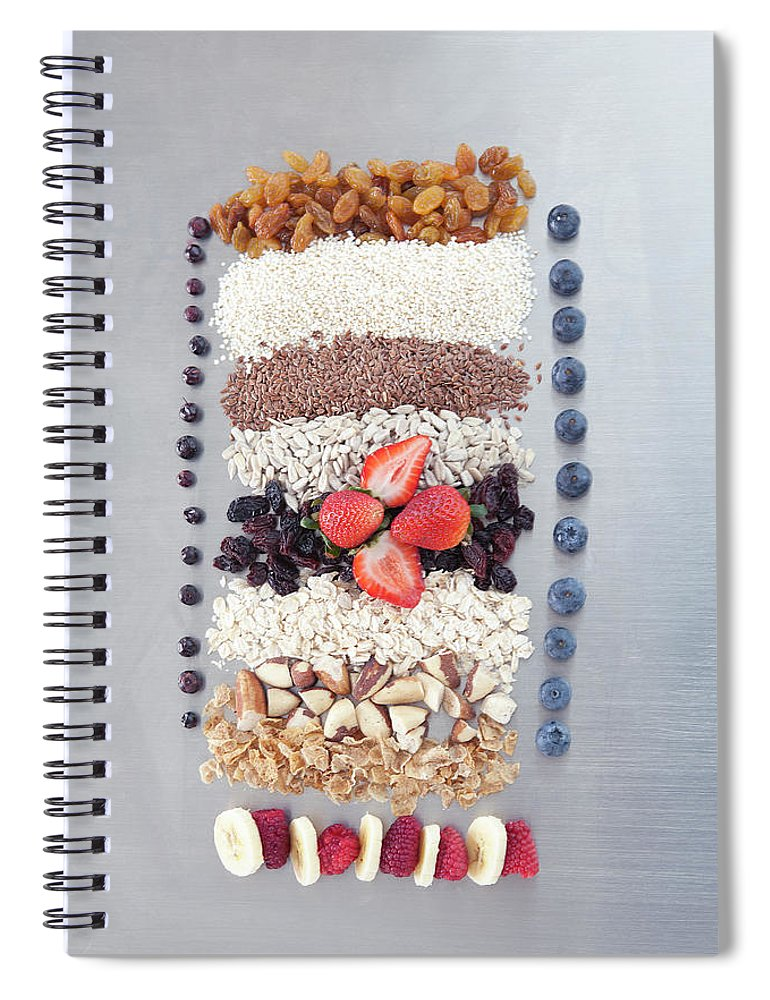 Nut Spiral Notebook featuring the photograph Raw Nuts, Fruit And Grains by Laurie Castelli