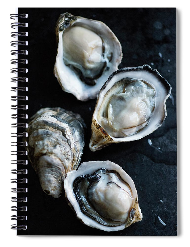 Oyster Spiral Notebook featuring the photograph Raw Oysters by Jack Andersen