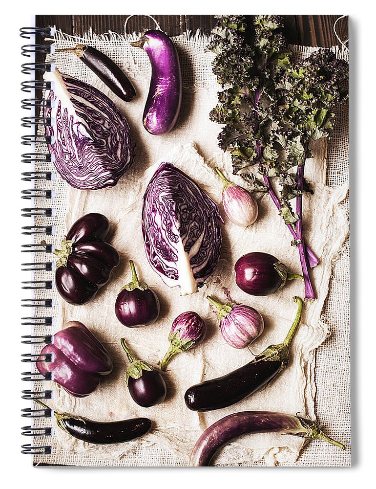 San Francisco Spiral Notebook featuring the photograph Raw Purple Vegetables by One Girl In The Kitchen